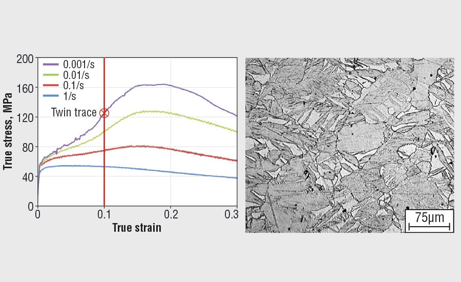 Measured stress-strain response of AZ31B and microstructure