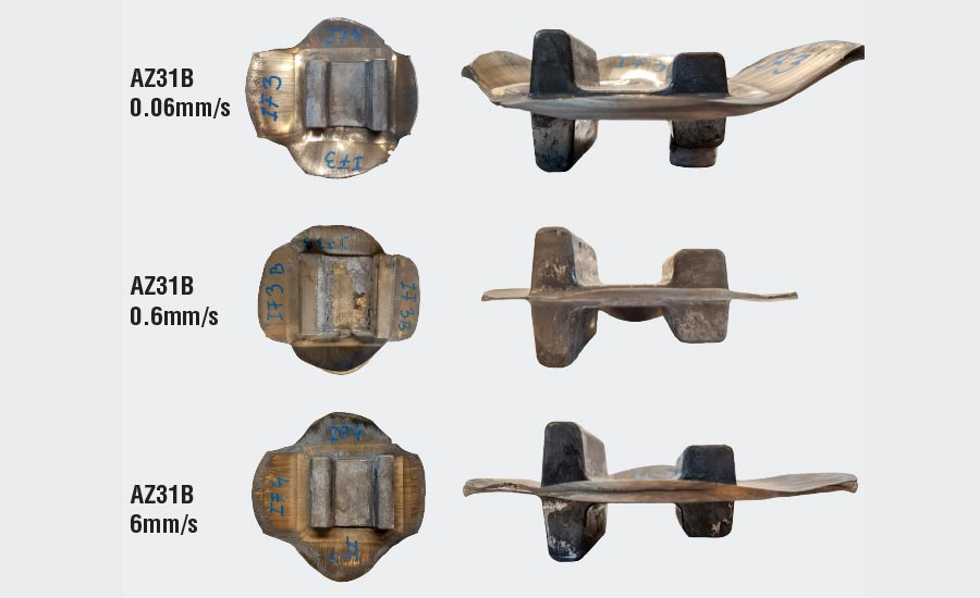 Examples of AZ31B magnesium forgings done using a 500-ton press