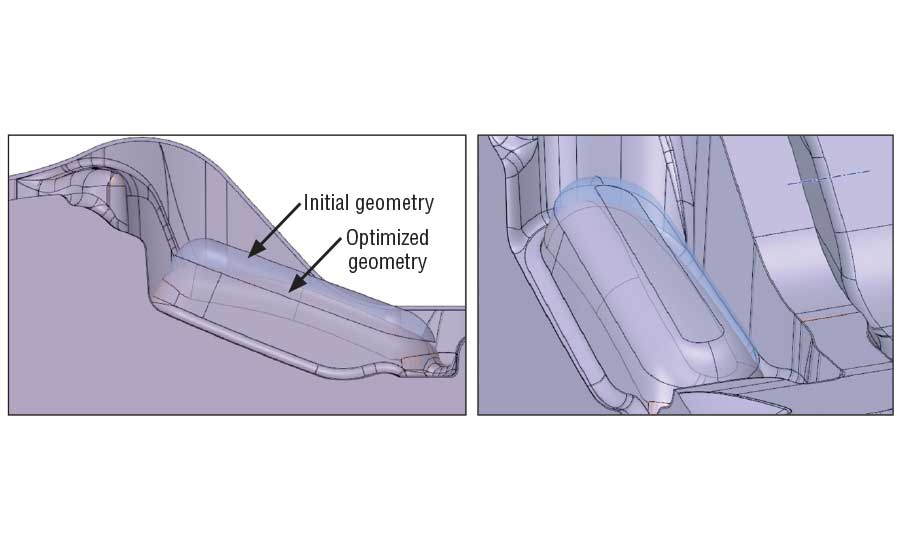 Comparative analysis of the original geometry of the lower tool