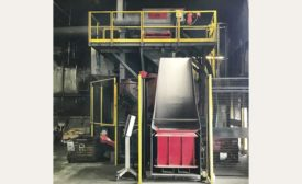 Frontal view of the new 14-cubic-foot drum-blast system
