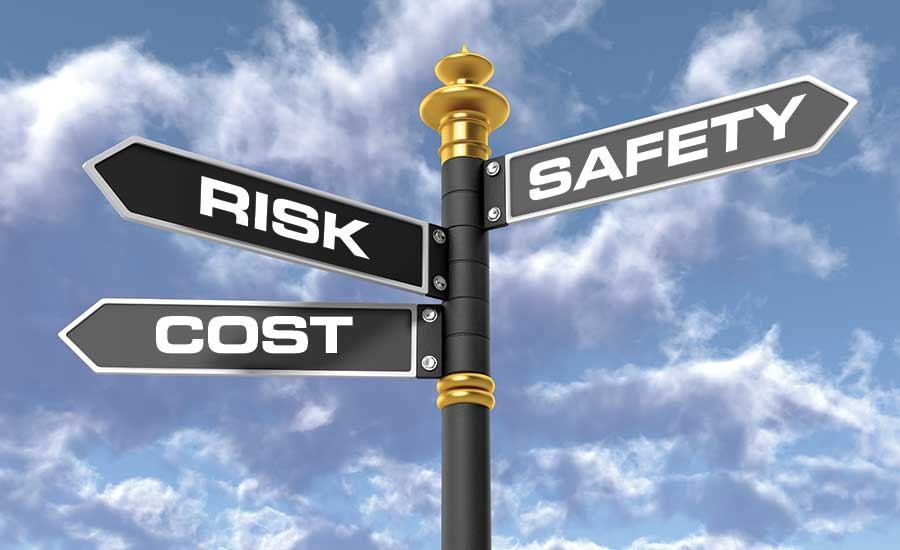 Cost, Risk, Safety Street Sign