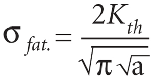 This equation determines how large of an inclusion can be tolerated as a function of applied stresses