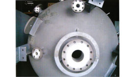Coating is applied for protection of critical valve areas (white-colored areas) during heat treatment of pressure vessel