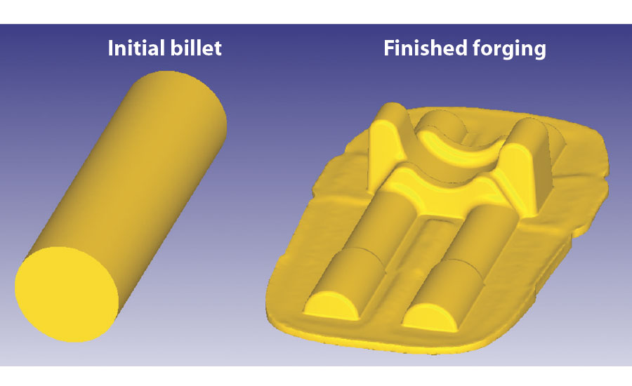 Lower collar forging is produced from a round billet in three operations