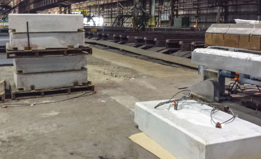 Precast hearth blocks for a car bottom furnace