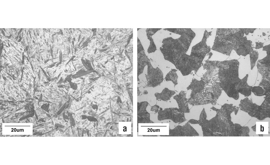Microstructures observed in the Jominy end-quench test