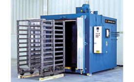 Grieve electrically heated walk-in oven for heat treating